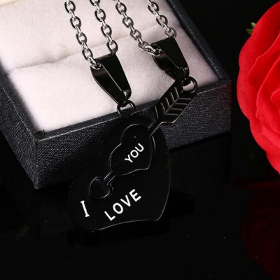 Tinnivi Black Titanium Steel Cupids Arrow Heart Puzzle Pendant Couples Necklace