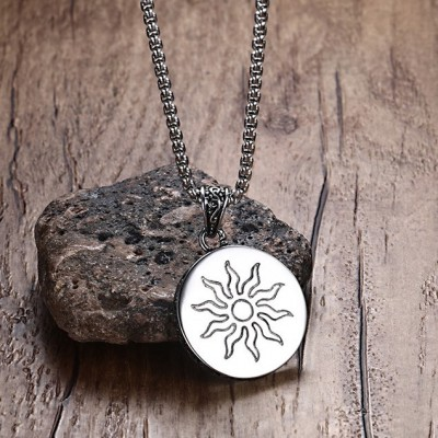 Tinnivi Titanium Steel Faith Sun God Apollo Pendant Necklace