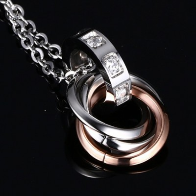 Tinnivi Triple Rings Black And Rose Gold Titanium Steel Pendant Necklace For Couples