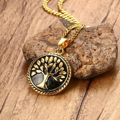 Tinnivi Gold And Black Titanium Steel Lucky Tree Pendant Necklace For Men