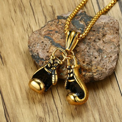 Tinnivi Punk Gold Titanium Steel Boxing Gloves Chain Pendant Necklace For Men