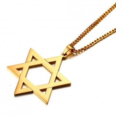 Tinnivi Simple Hollow Out Hexagram Gold Titanium Steel Pendant Necklace For Men
