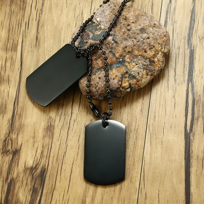Tinnivi Black Titanium Steel Double Hangtag Pendant Necklace For Men