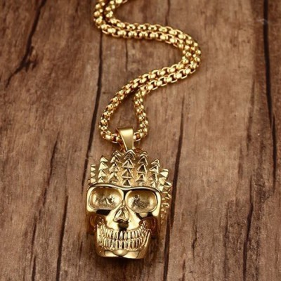 Tinnivi Punk Style Gold Titanium Steel Skull Pendant Necklace For Men