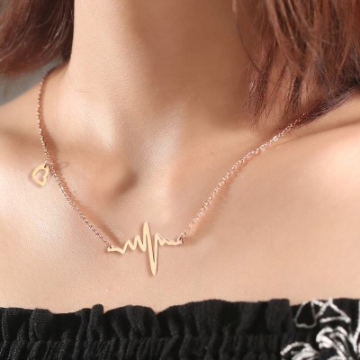 Tinnivi Elegant Rose Gold Titanium Steel Wave Pendant Necklace For Women