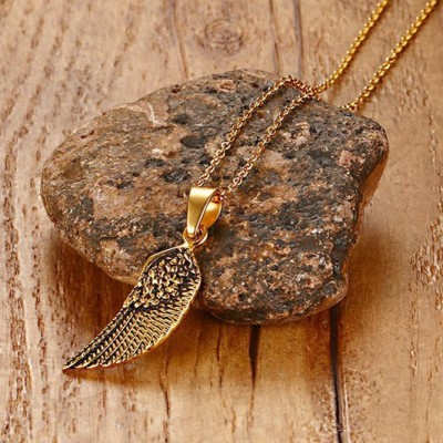 Tinnivi Gold Titanium Steel Single Wing Pendant Necklace For Men