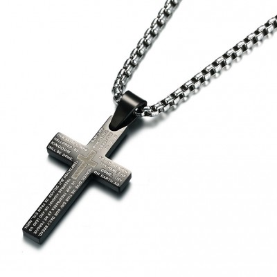 Tinnivi Titanium Steel Simple Black Cross Pendant Lords Prayer Necklace For Men