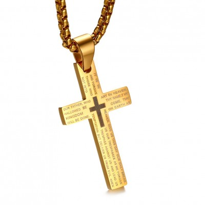 Tinnivi Gold Titanium Steel Simple Cross Pendant Lords Prayer Necklace For Men