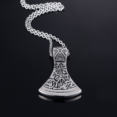 Tinnivi Gold Titanium Steel Celtic Viking Odin Axe Head Pendant Necklaces For Men