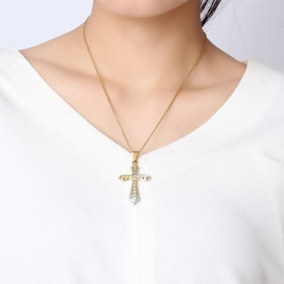 Tinnivi Gold Titanium Steel Cross With Created White Sapphire Pendant Necklaces For Women
