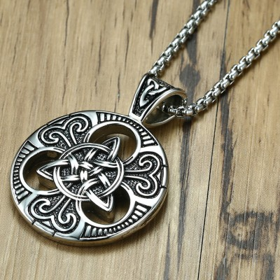 Tinnivi Celtic Trinity Knot Triquetra Titanium Steel Pendant Necklace For Men