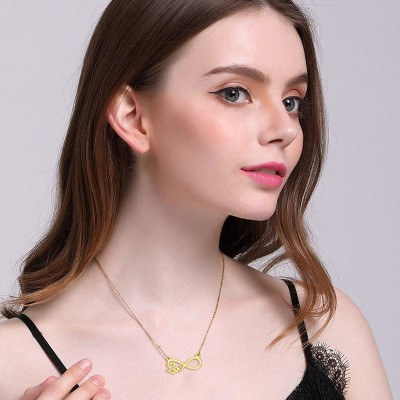 Tinnivi Elegant Love Infinite Gold Plated Titanium Steel Pendant Necklace For Women