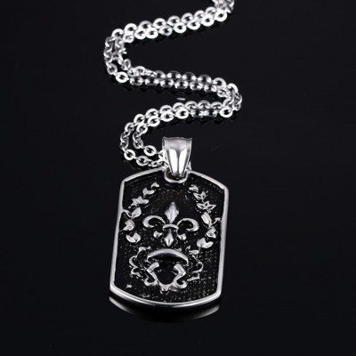 Tinnivi Vintage Black Titanium Steel Iris Pattern Tag Pendant Necklace For Men