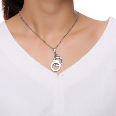 Tinnivi Titanium Steel Created White Sapphire Love Forever Handcuffs Pendant Necklace For Women