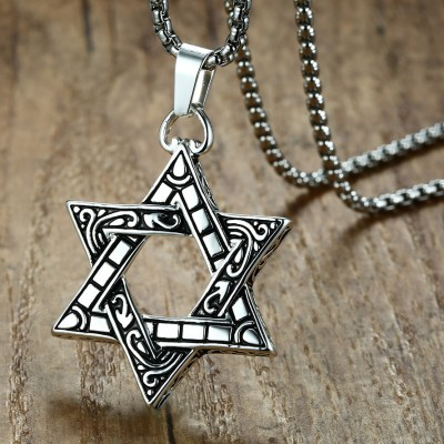 Tinnivi Vintage Hollow Out Hexagram Titanium Steel Pendant Necklace For Men