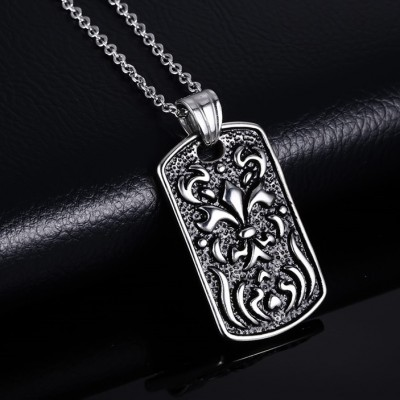 Tinnivi Fashion Vintage Flower Pattern Tag Black Titanium Steel Pendant Necklace For Men