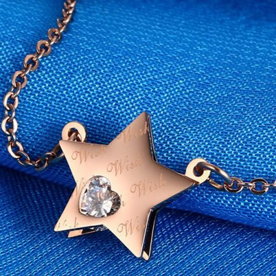 Tinnivi Heart Cut Created White Sapphire Rose Gold Titanium Steel Pentagram Pendant Necklace For Women
