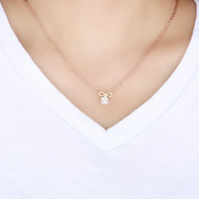 Tinnivi Rose Gold Titanium Steel Bowknot With Created White Sapphire Pendant Necklace For Women