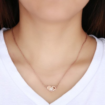 Tinnivi Rose Gold Titanium Steel Heart Shape Created White Sapphire Pendant Necklace For Women