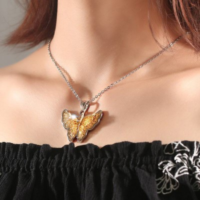 Tinnivi Elegant Gold Titanium Steel Created White Sapphire Butterfly Pendant Necklace For Women
