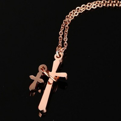 Tinnivi Rose Gold Titanium Steel Double Cross Pendant Necklace For Women