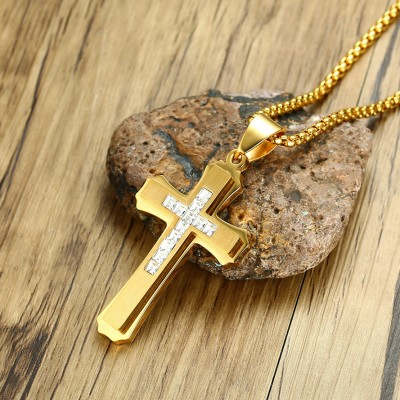 Tinnivi Gold Titanium Steel Created White Sapphire Cross Pendant Necklaces For Men