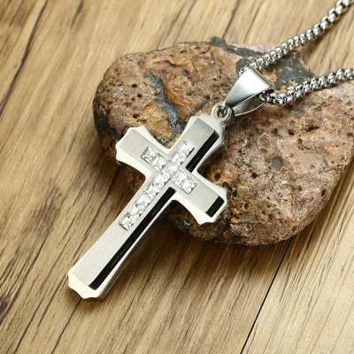 Tinnivi Silver Titanium Steel Created White Sapphire Cross Pendant Necklaces For Men