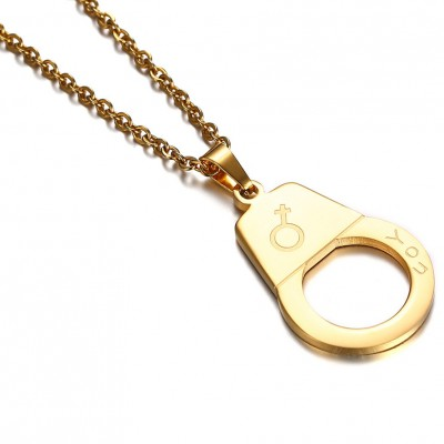Tinnivi Silver And Gold Titanium Steel Love You Handcuffs Pendant Necklace For Couples