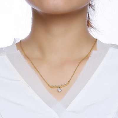 Tinnivi Stylish Gold Titanium Steel Created White Sapphire Pendant Necklace For Women