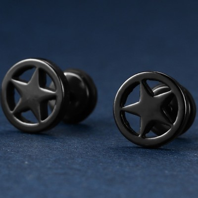 Tinnivi Titanium Steel Studs Earrings Black Round Pentagram Stars Piercing For Men