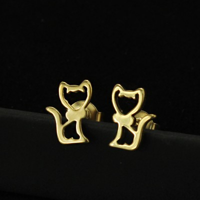 Tinnivi Fashion Gold Titanium Steel Hollow Out Cute Cat Stud Earrings for Girls