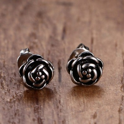 Tinnivi Stylish Titanium Steel Rose Stud Earrings