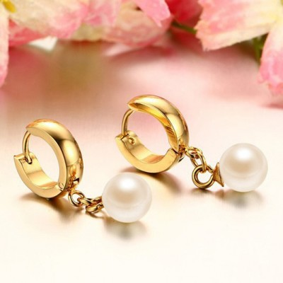 Tinnivi Gold Titanium Steel Gorgeous Pearl Earrings
