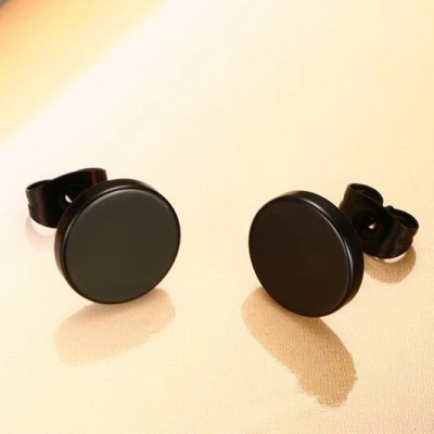 Tinnivi Fashion Black Titanium Steel Ear Stud Earrings For Women