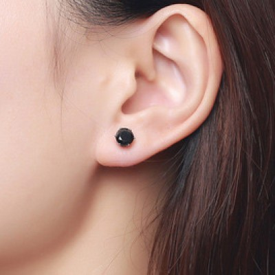Tinnivi Titanium Steel Created Black Diamond Stud Earrings For Women