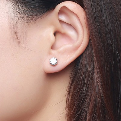Tinnivi Titanium Steel Created White Sapphire Stud Earrings For Women