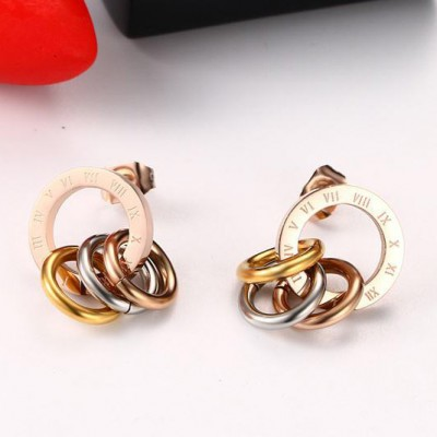 Tinnivi Rose Gold Plated Titanium Steel Roman Numeral Engrved with Tri Color Stud Earrings
