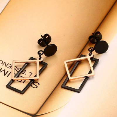 Tinnivi Minimalist Black And Gold Titanium Steel Square Dangle Earrings