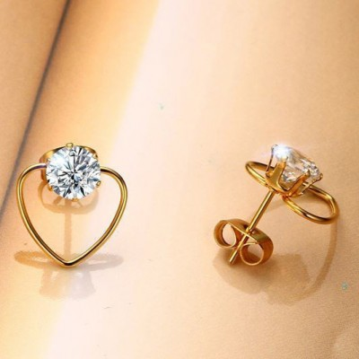 Tinnivi Gold Plated Titanium Steel Heart Hollow Out With Created White Sapphire Stud Earrings