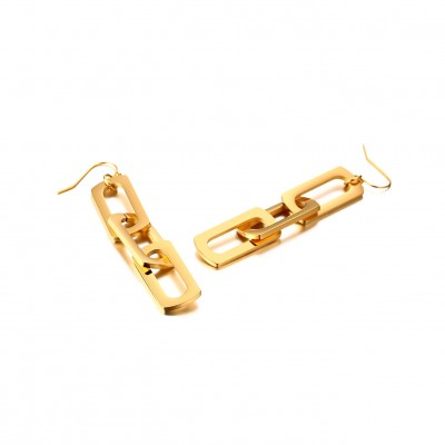 Tinnivi Gold Titanium Steel Long Rectangle Link Drop Earrings