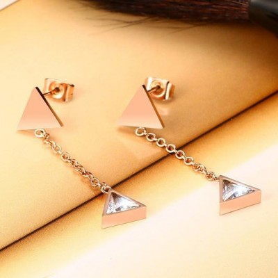 Tinnivi Created White Sapphire Rose Gold Plated Titanium Steel Triangle Dangle Earrings for Women