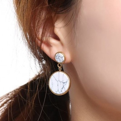 Tinnivi Gold Titanium Steel Two Circle Marble Drop Earring for Woman