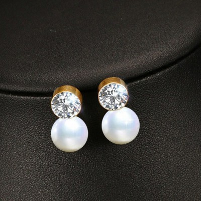 Tinnivi Created White Sapphire With Pearl Gold Titanium Steel Stud Earrings For Women