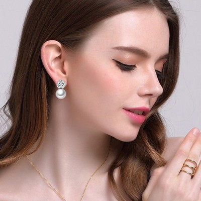 Tinnivi Silver Titanium Steel Created White Sapphire With Pearl Stud Earrings For Women