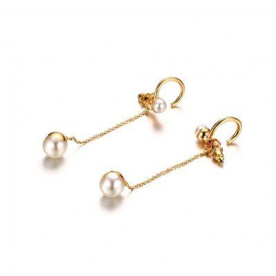 Tinnivi Gold Titanium Steel With Pearl Elegant Long Dangle Earrings for Women