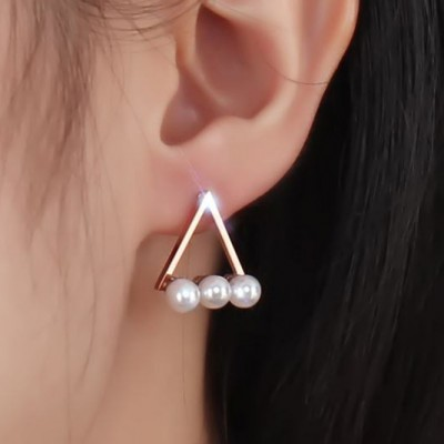 Tinnivi Rose Gold Titanium Steel Hollow Out Triangle With Pearl Drop Earring for Woman