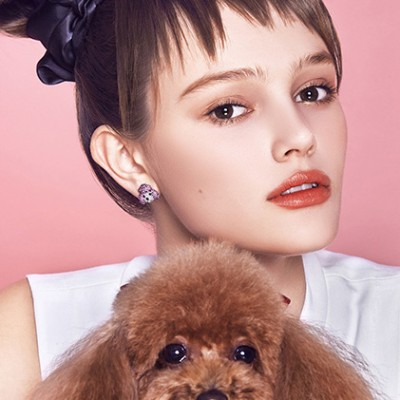 Tinnivi Cute Silver With Created White Sapphire Poodle Ear Stud Earring