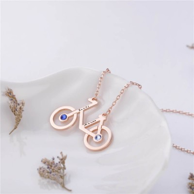 Bicycle Pendant Personalized Birthstone 925 Sterling Silver Necklace