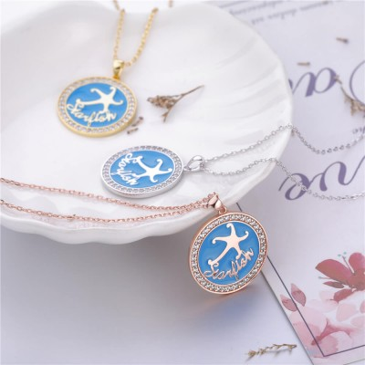 Blue Starfish Pendent 925 Sterling Silver Necklace