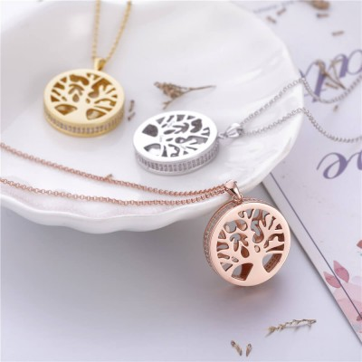 Engraved Family Tree Locket 925 Sterling Silver Necklace